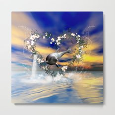 Dolphin jumps by a heart Metal Print