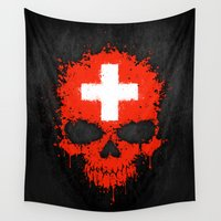 switzerland Wall Tapestries featuring Flag of Switzerland on a Chaotic Splatter Skull by Jeff Bartels