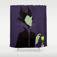 maleficent Shower Curtains featuring Maleficent by karla estrada