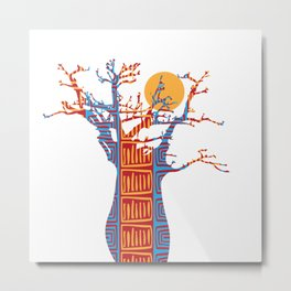 African Baobab tree of life at Sunset Metal Print