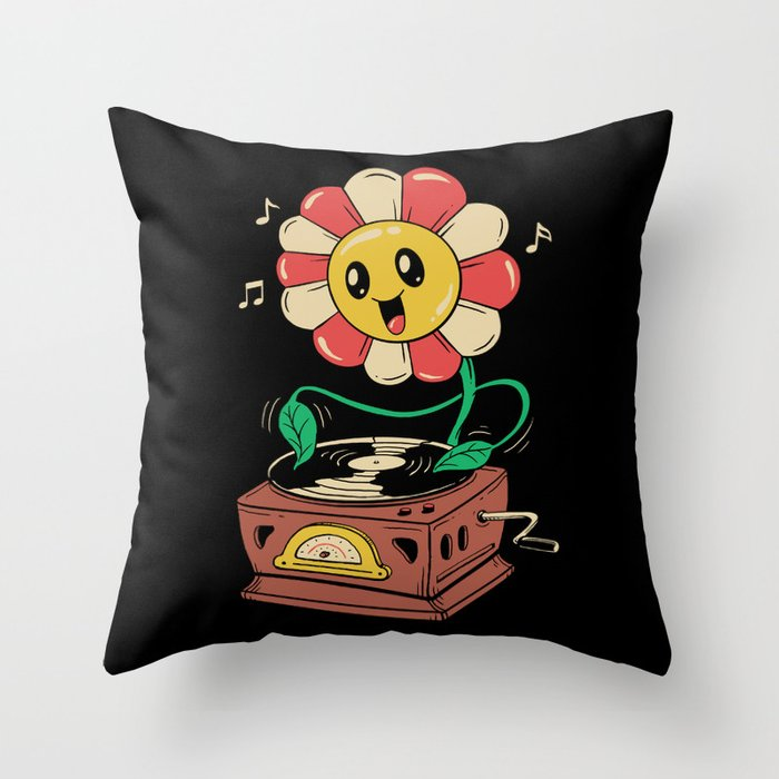 Vinyl Flower Throw Pillow