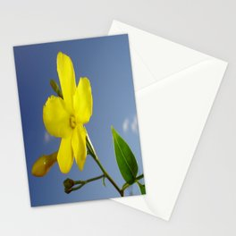 Yellow Jasmine Flower and Bud Against Blue Sky Stationery Cards