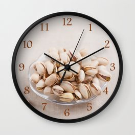 open pistachio nuts in shell Wall Clock
