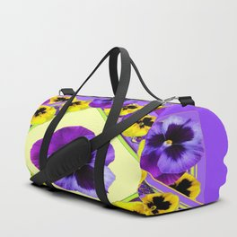 PURPLE GEOMETRIC  PURPLE & YELLOW  PANSIES  WITH CREAM COLOR Duffle Bag