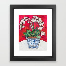 Orchid in Blue-and-white Bird Pot on Red after Matisse Framed Art Print