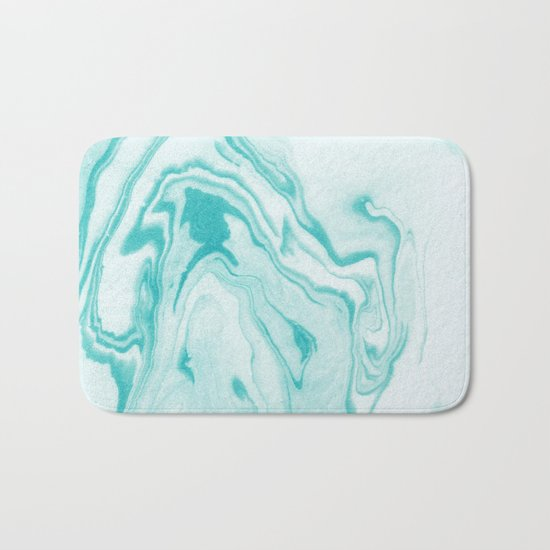 Aimi - spilled ink abstract water wave tropical vacation india ink aqua gender neutral painting boho Bath Mat