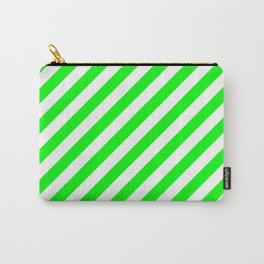 Diagonal Stripes (Green/White) Carry-All Pouch
