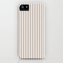 Mattress Ticking Narrow Striped Pattern in Chocolate Brown and White iPhone Case