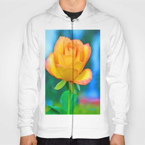Yellow Rose with Turquoise Hoody