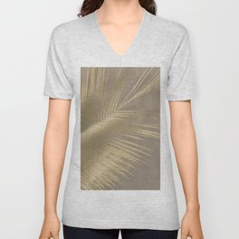 Palm leaves beige gold Unisex V-Neck