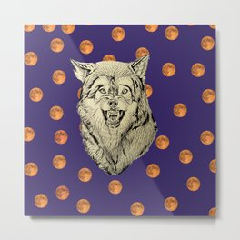 Wolf and Moons Metal Print