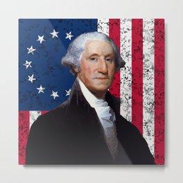 President George Washington and The American Flag Metal Print