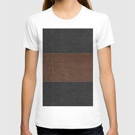 Brown & Black Stitched Leather T-shirt