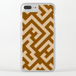 Tan Brown and Chocolate Brown Diagonal Labyrinth Clear iPhone Case