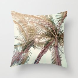 Sunny San Diego Day with Palm Trees Throw Pillow