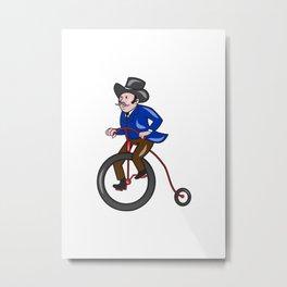 Gentleman Riding Penny-farthing Cartoon Metal Print