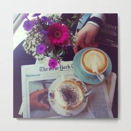 Coffee, Flowers, Friends Metal Print