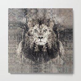 Lion Stone Metal Print