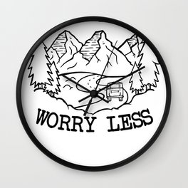 Hike more worry less Hiking Wall Clock