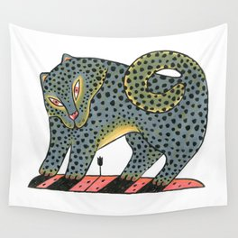 Leopard Dog With Tulip Wall Tapestry