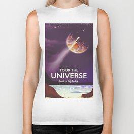 Tour the universe space travel poster Biker Tank