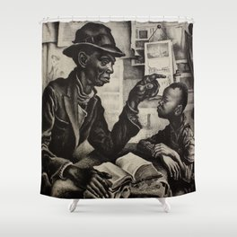 Classical Masterpiece 'The Instruction' by Thomas Hart Benton Shower Curtain