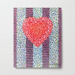 High Energy Squiggle Heart - Impressionist Heart Art Metal Print