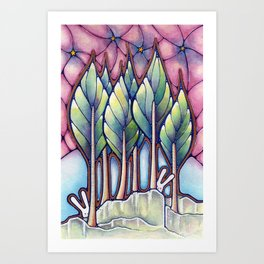 Bunnies in the Forest Art Print