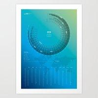 Bureau Oberhaeuser Calendar 2016 blue, german Art Print