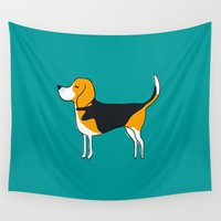 beagle Wall Tapestries featuring Beagle by MaJoBV