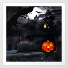 Happy Screaming Halloween Art Print