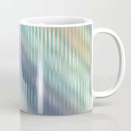 Modern Abstract, Striped, Reflective Light Glass, Optical Illusion, Pastel, Teal, Purple, Blue, Gold Coffee Mug