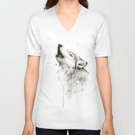 Wolf Howling Watercolor Animals Painting Black and White Unisex V-Neck