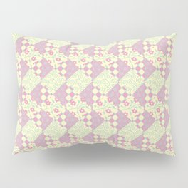 Pink, Yellow & Green Patchwork Pattern of Squares & Triangles Pillow Sham