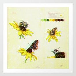 Black Eyed Susan and Her Pollinators Detail 2 TRIPPY Art Print