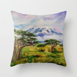 Mount Kilimanjaro Tanzania.  Oil on Canvas Art by Sher Nasser. Throw Pillow