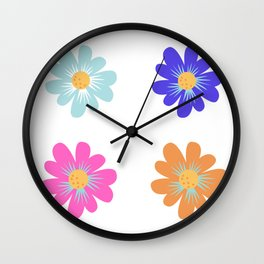 colorful flower design Wall Clock