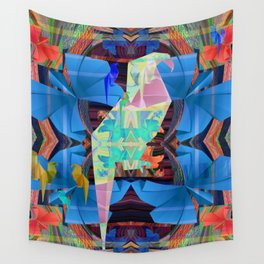 Origami Parrot Butterfly Tribal Tropical Floral Wall Tapestry