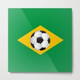 Brazil Football Flag Metal Print