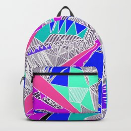 psychedelic geometric pattern drawing abstract background in blue pink purple Backpack