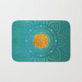"""Turquoise and Gold Mandala"" Bath Mat"