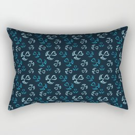 Baby Feet and Hearts Seamless Pattern in blue glitter Rectangular Pillow