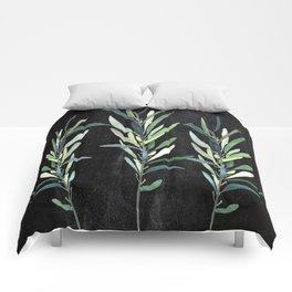 Eucalyptus Branches On Chalkboard Comforters