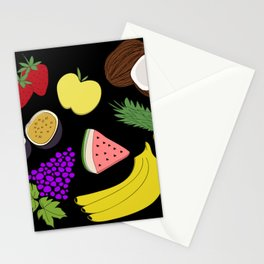 Fruit! in Black Stationery Cards