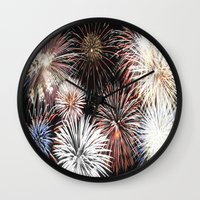 fireworks Wall Clocks featuring Fireworks by Urlaub Photography
