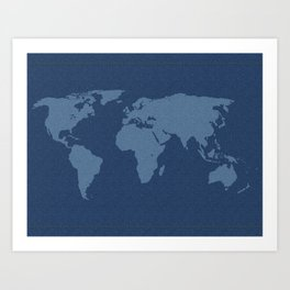 Denim Map Art Print