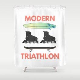 Modern Triathlon Shower Curtain