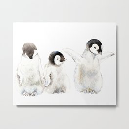 Playful Penguin Chicks - Watercolor Painting Metal Print