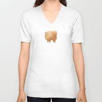 pomeranian V-neck T-shirts featuring Pomeranian by 52 Dogs