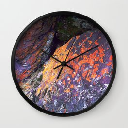 Colorful Moss on Rocks Wall Clock